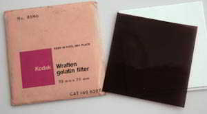 Kodak Wratten 85N6 gelatin filter 75mm square  Filter